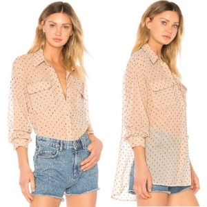 L'Academie Nude Swiss Dot Button Up Sheer Blouse